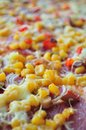 Detail of delicious pizza with corn Royalty Free Stock Photo
