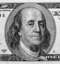Detail of Portrait on One Hundred Dollar Bill Royalty Free Stock Photo