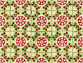 Detail of Portuguese red and green glazed tiles Stock Photos
