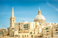 Detail postcard of old town la valletta capital of malta world famous mediterranean island medieval architecture and urbanistic Royalty Free Stock Images