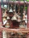 Detail of prayer bells in buddhist and hindu temple, kathmandu Nepal Royalty Free Stock Photo