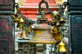 Detail of prayer bells in buddhist and hindu temple, Kathmandu