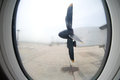 Detail of the propeller airplane at the airport Royalty Free Stock Photo
