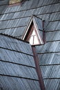 Detail of protective wooden shingle on roof the old Stock Images
