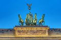 Detail of the Quadriga at night Royalty Free Stock Photo