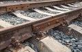 Detail of railway track rusty Stock Photo