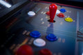 Detail on a red joysticks on and old arcade Royalty Free Stock Photo