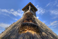 Detail of reed thatch with blue sky Stock Image