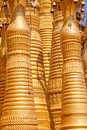 Detail of renovated ancient stupas at indein inle lake myanmar Stock Images