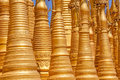 Detail of renovated ancient stupas at indein inle lake myanmar Royalty Free Stock Images