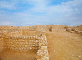 Detail of roman camp war built in i iii century ad in negev desert near nabatean city avdat Royalty Free Stock Photo