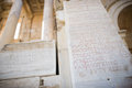 Detail with roman inscription on the ruins of celsus library in ephesus efes turkey Royalty Free Stock Photo