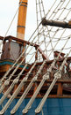 Detail of a rope ladder Stock Photo