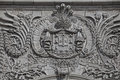 Detail of the rua augusta arch a stone triumphal arch like in l lisbon portugal built to commemorate city s reconstruction after Royalty Free Stock Photography