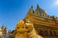 Detail of Sacred Shwezigon Pagoda in Bagan archeological site. Royalty Free Stock Photo