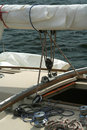 Detail of a sailing yacht. Royalty Free Stock Photo