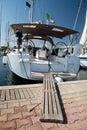 Sailing yacht in marina Royalty Free Stock Photo