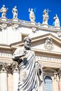 Saint Peter statue in front of Saint Peter Cathedral - Rome  Italy - Vatican City Royalty Free Stock Photo