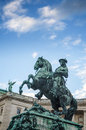 Detail at Sculpture Emperor Joseph II in Vienna Hofburg Imperial Palace,Entrance in sunny day in Vienna Royalty Free Stock Photo