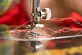 Detail of a sewing machine foot and the needle Royalty Free Stock Image