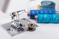 Detail of sewing machine with threads and bobbins Stock Image