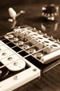 Detail of six string electric guitar closeup selective focus processed with vintage style Stock Photo