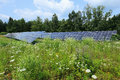 Detail of the solar power station on the meadow in sunny day Royalty Free Stock Images