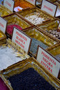 Detail spice market selling various domestic foreign blands Royalty Free Stock Photography