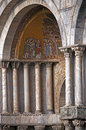 Detail of st mark cathedral in venice itay marble columns and mosaics with scenes the life jesus christ Stock Photo