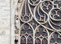 Detail of a Stained Glass Window at Notre Dame in Paris Royalty Free Stock Photo