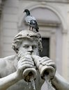 Detail of the statue of the fountain in piazza navona with a pigeon on his head Royalty Free Stock Photography