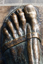 Detail of statue of gregory of nin thumb for happiness on the in split in croatia Stock Image