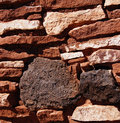 Detail stone wall of ancient pueblo house wupatki national monument arizona Stock Image