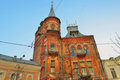 Detail of street this old house is on the yaroslav val center kiev Royalty Free Stock Images