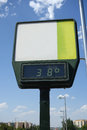 Detail of a street thermometer showing high temperature Royalty Free Stock Photo