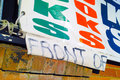 Detail of a Tarpaulin Sign Advertising a Book Shop Royalty Free Stock Photo