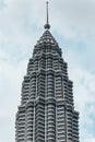 Detail of the top of Petronas twin towers in Kuala Lumpur, Malaysia Royalty Free Stock Photo