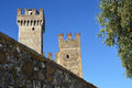 Detail of towers of Sirmione Scaliger Castle with medieval walls rare example of medieval port fortification, Sirmione, Lake Garda Royalty Free Stock Photo