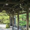 Detail of traditional pavilion in Japanese garden Royalty Free Stock Photo