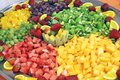 Detail of tray with fruit salad Royalty Free Stock Photo
