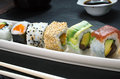 Detail of the tray of sushi rolls Royalty Free Stock Photo