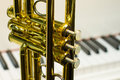 Detail of trumpet close up Royalty Free Stock Photo