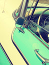 Detail of a turquoise vintage car Royalty Free Stock Photo