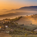 Detail of Tuscan village in Morning Fog Royalty Free Stock Photo