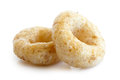 Detail of two honey cheerios. Royalty Free Stock Photo