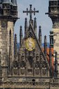 Detail of tyn church in old town square in prague between two towers with st maria and jesus christ Royalty Free Stock Image