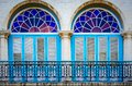Detail of typical colonial balcony and windows in Havana vieja - old town, Cuba Royalty Free Stock Photo