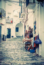 Detail of the typical stone street of cadaques costa brava Royalty Free Stock Images