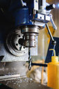 Detail of vertical drilling machine Royalty Free Stock Photo