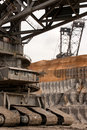 Detail of a very large bucket wheel excavator Stock Photo